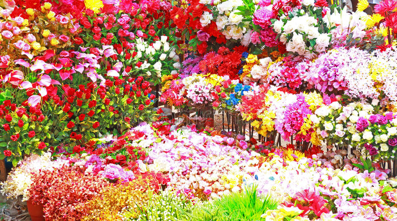 Ogromny kwiecisty pokaz kolorowi kwiatów ind fotografia stock