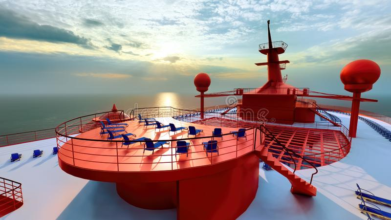 Ogromny luksusowy statku wycieczkowego 3d rendering ilustracja wektor