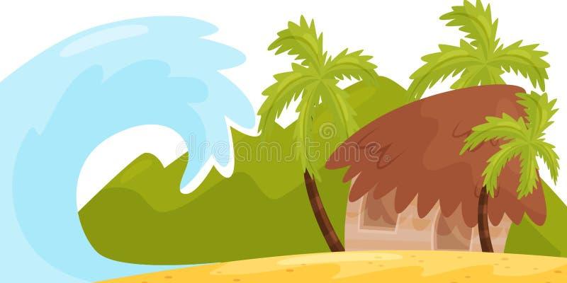 Ogromny ocean fali blisko wybrzeże tropikalna wyspa Mały dom na plaży Tsunami katastrofa naturalnego krajobrazu mieszkanie ilustracja wektor