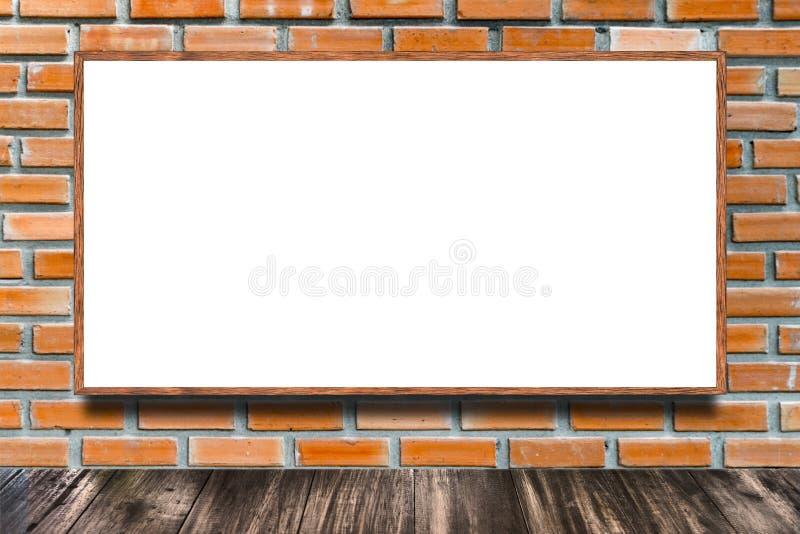 Ogromny plakatowy reklamowy billboard na ściana z cegieł jako tło royalty ilustracja