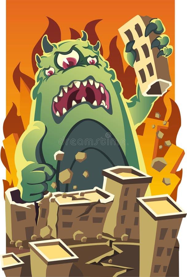 Ogromny potwór niszczy miasto kreskówkę royalty ilustracja