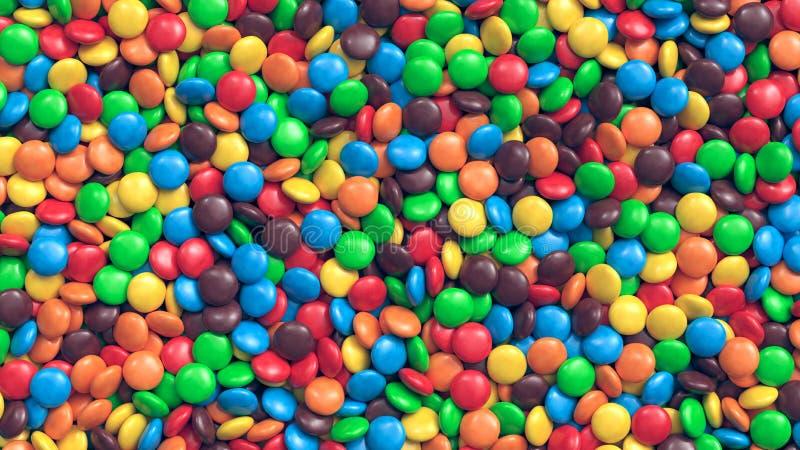 Ogromny stos kolorowy pokryty czekoladowych cukierków tło zdjęcia stock