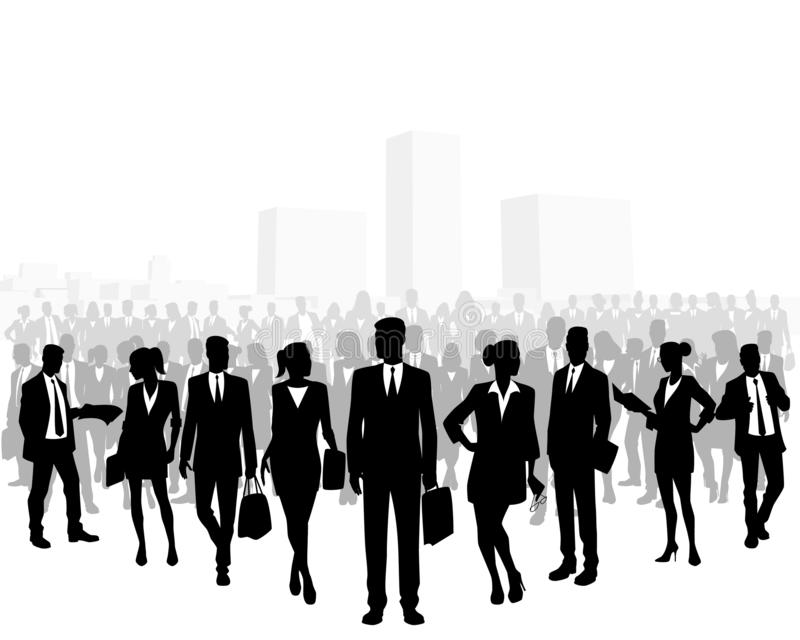 Ogromny tłum ludzie biznesu ilustracji