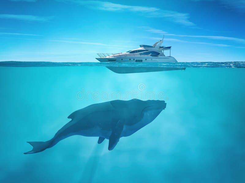 Ogromny wieloryb blisko statku wycieczkowego royalty ilustracja