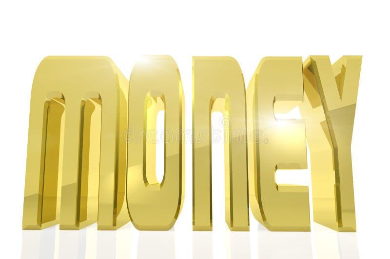 Ogromny złoty słowo pieniądze na białym tle ilustracja wektor