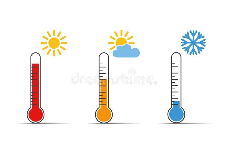 Ogrzewa termometr ikony symbol, gorąca zimną pogodę i ilustracji