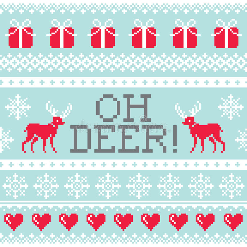 Oh картина оленей, дизайн рождества безшовный, предпосылка зимы бесплатная иллюстрация