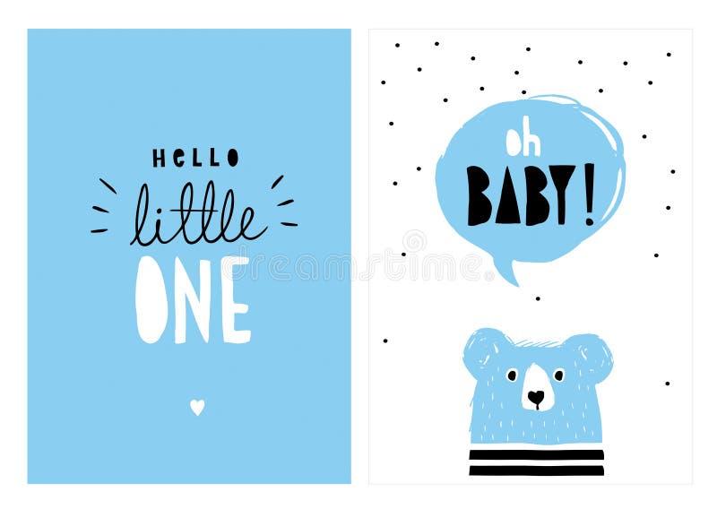 Oh Baby, hallo kleines  Hand gezeichneter Babyparty-Vektor Illlustrations-Satz vektor abbildung