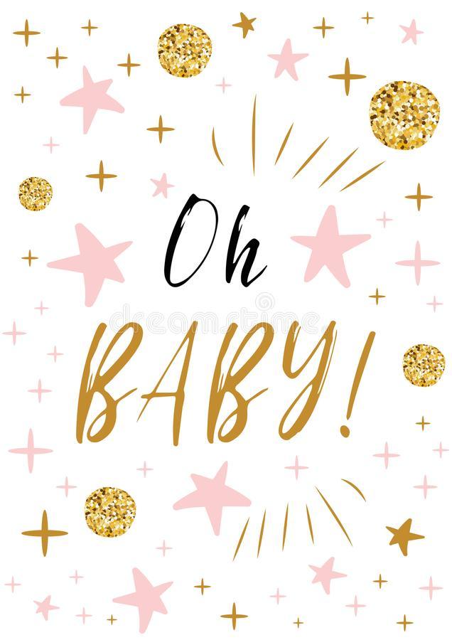 Oh baby text with gold balls and pink star for girl baby shower card download oh baby text with gold balls and pink star for girl baby shower card invitation stopboris Gallery