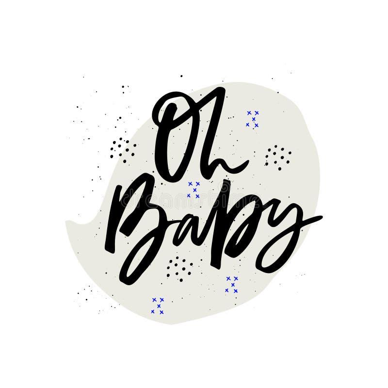 Oh calligraphie tirée par la main d'encre de vecteur de bébé illustration de vecteur