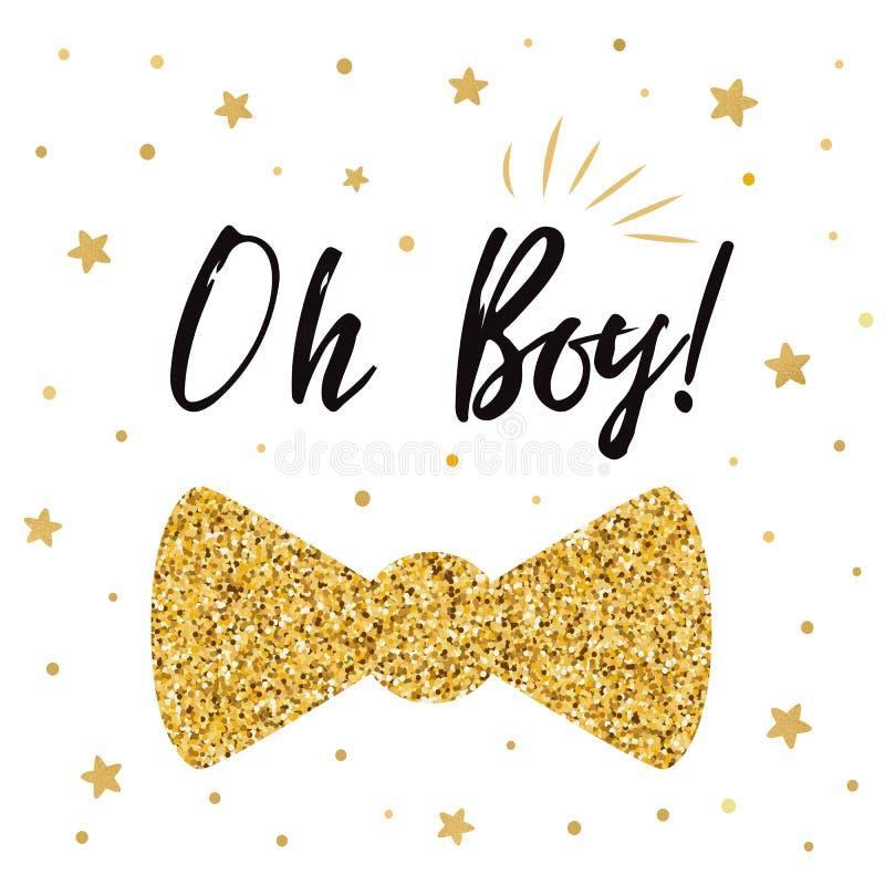 Oh a festa do bebê bonito com ouro stars a borboleta do laço Convite do aniversário do menino ilustração royalty free