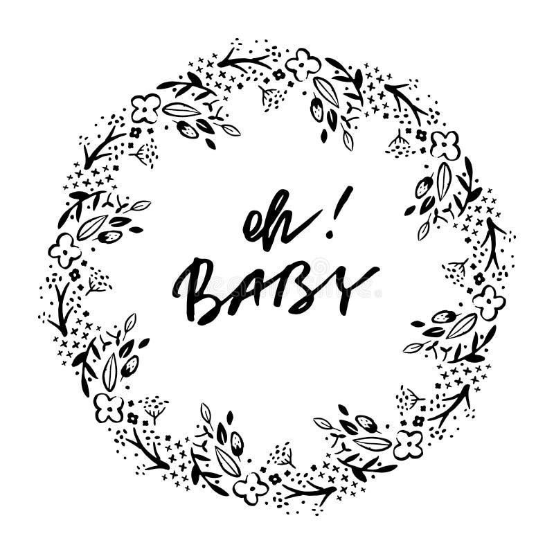 Oh frase do bebê Cartão do convite da festa do bebé Ilustração da tinta Caligrafia moderna da escova ilustração stock