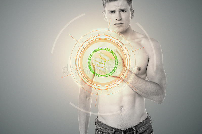 Oh ! Its paining a lot !. Sad man touching his chest in pain vector illustration
