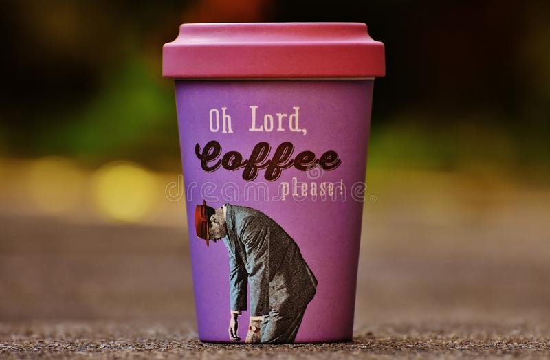 Oh Lord Coffee Please Purple and Pink Cup royalty free stock photos