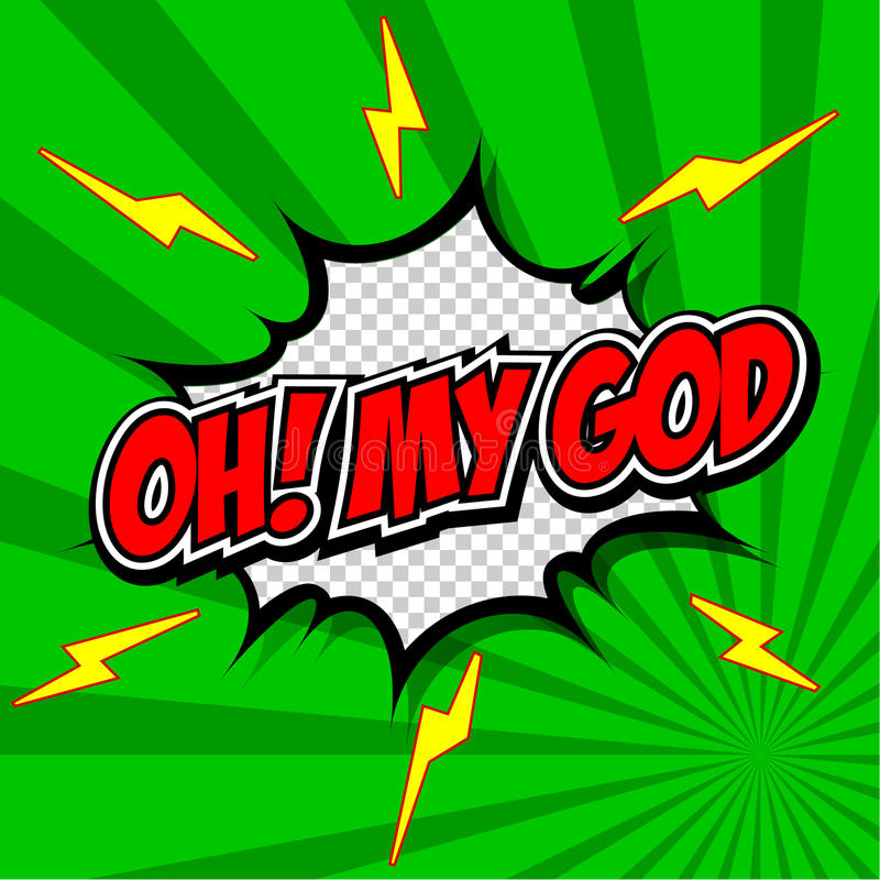 ¡Oh! Mi burbuja cómica del discurso de dios, historieta. ilustración del vector