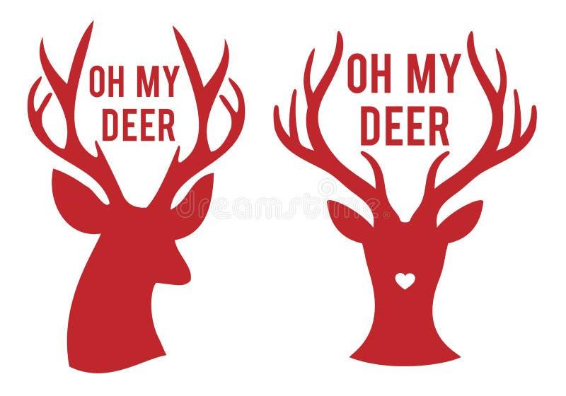 Oh mis cabezas de los ciervos, vector libre illustration
