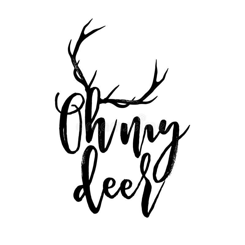 Oh mis ciervos - frase de la caligrafía para la Navidad libre illustration