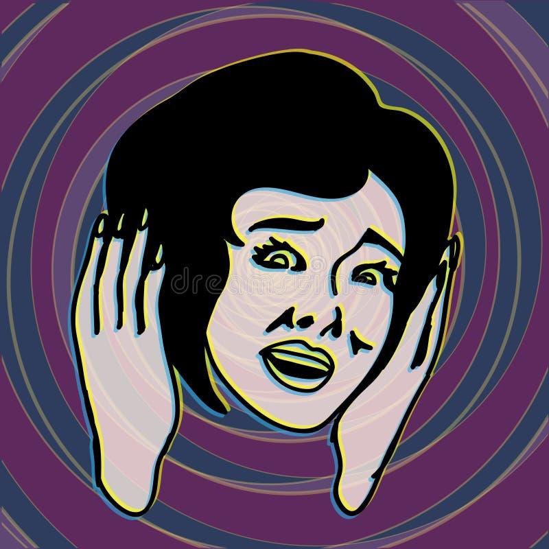 Oh mon Dieu ! Rétro et par vintage effrayée fille criant illustration stock