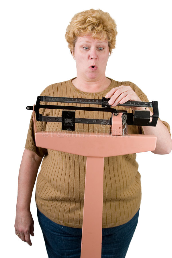 Oh NO. Woman cn't believe her weight on the scale isolated on white