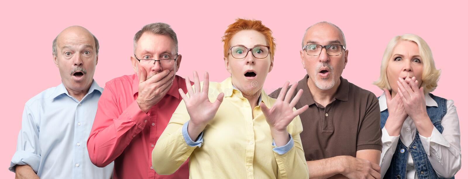 Can not believe my eyes. Oh no concept. Oh no concept. Collage of mature men and women looking at camera, keeping mouth wide opened feeling shocked and stressed stock images