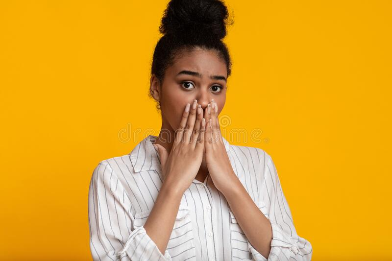 Shocked Amazed Woman Gesturing With Hands Stock Photo
