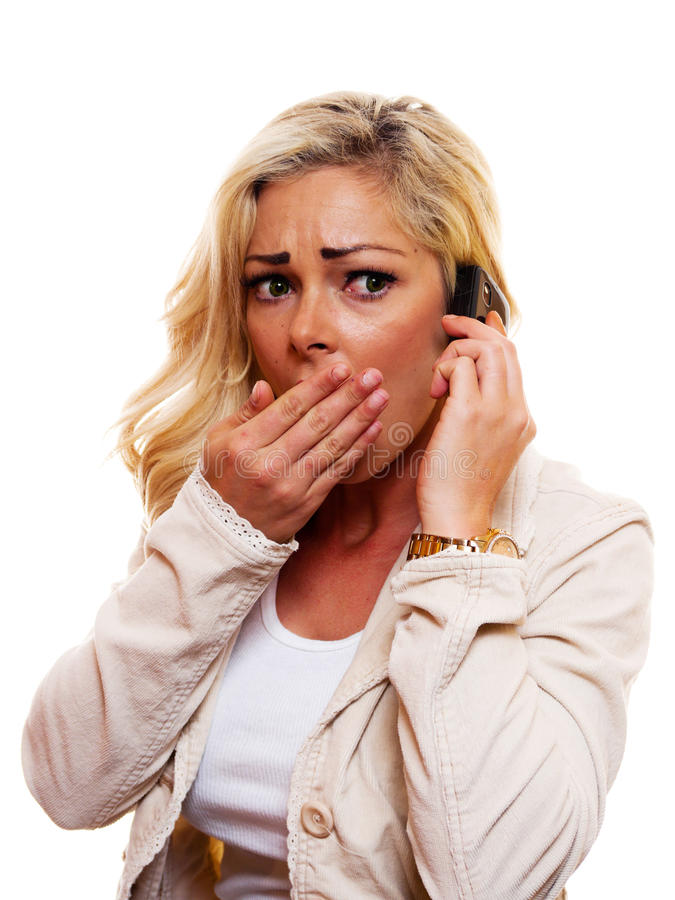 Oh No!. A woman say`s `Oh No` while talking on cell phone royalty free stock photo