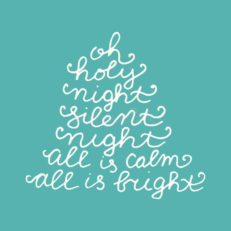 Oh a noite silenciosa toda da noite santamente é calma que tudo é brilhante Chri alegre ilustração royalty free
