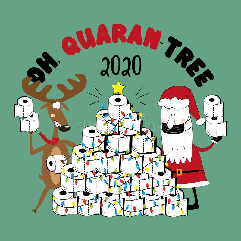 Free Oh, Quarant-tree 2020 - Funny Reindeer And Santa Claus In Facemask And Toilet Paper Christmas Tree. Royalty Free Stock Photography - 200397727