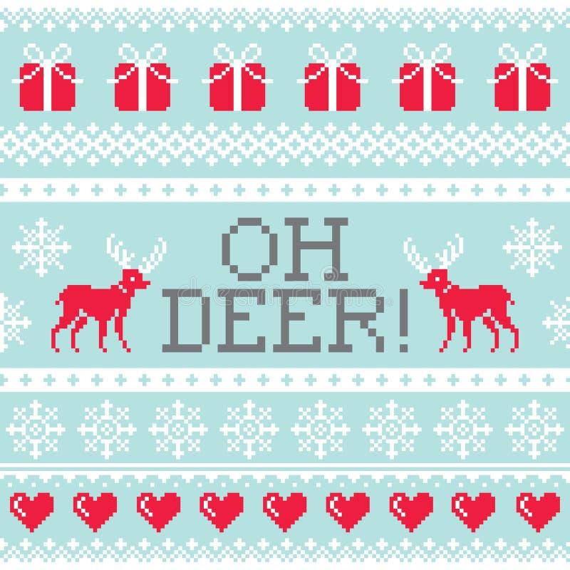 Oh Rotwildmuster, Weihnachtsnahtloses Design, Winterhintergrund lizenzfreie abbildung