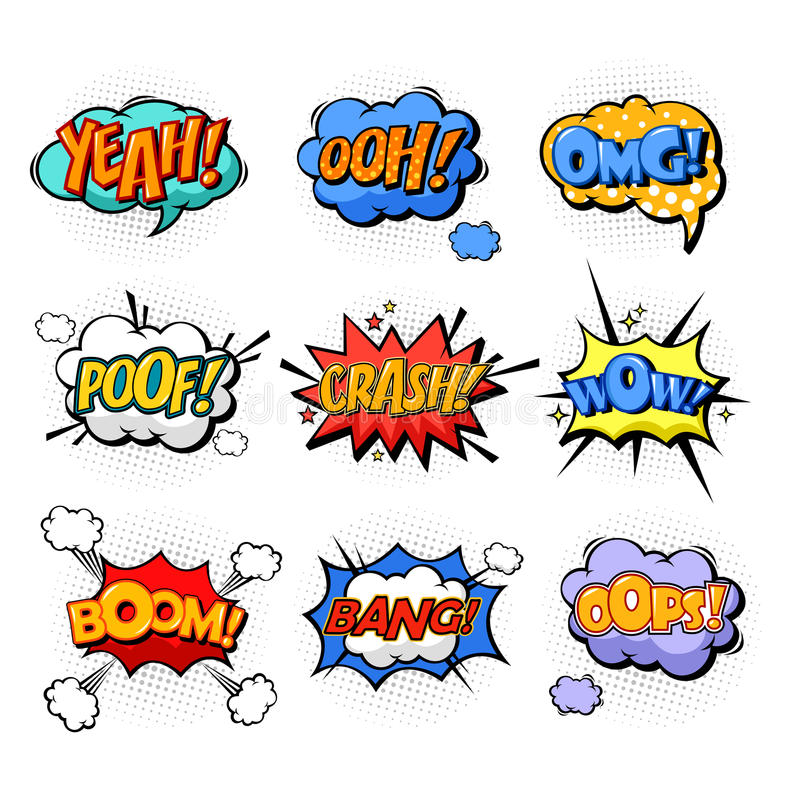 Oh and splash, boom and bang comic bubles. Onomatopoeia or comic bubble speech for cartoon replica like yeah and oh, ooh and splash, omg and oops, poof and boom vector illustration