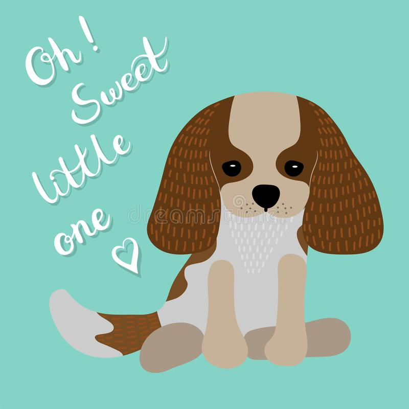 Oh! Sweet little one lettering. Cartoon puppy. Flat style. royalty free illustration