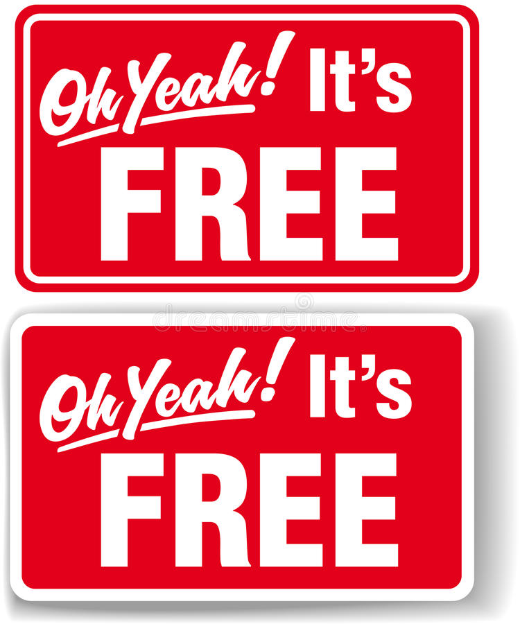 Download Oh Yeah Its FREE Store Sign Set Stock Vector - Image: 19885700