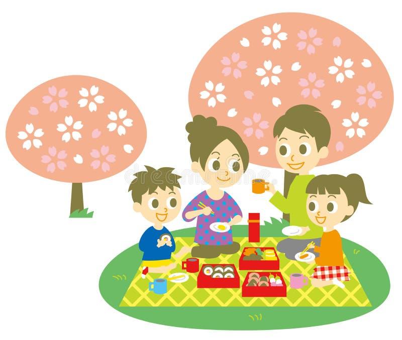 Ohanami, famille, partie de fleurs de cerisier illustration stock
