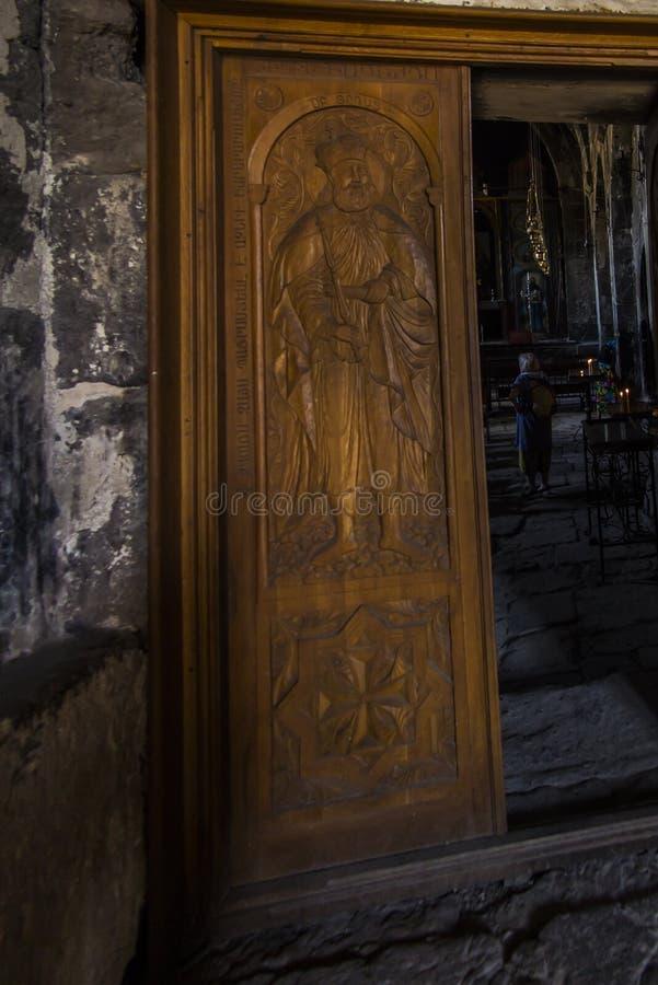 Ohanavan Armenien, 15th September 2017: Dekorativ dörr till nollan royaltyfri foto