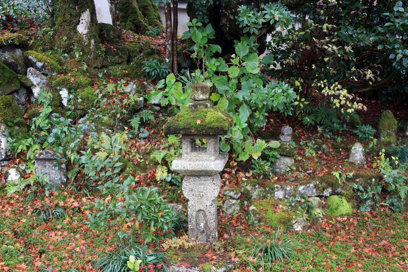 Stone lantern cover by lichen moss in the green garden at Jikko-in temple. stock image