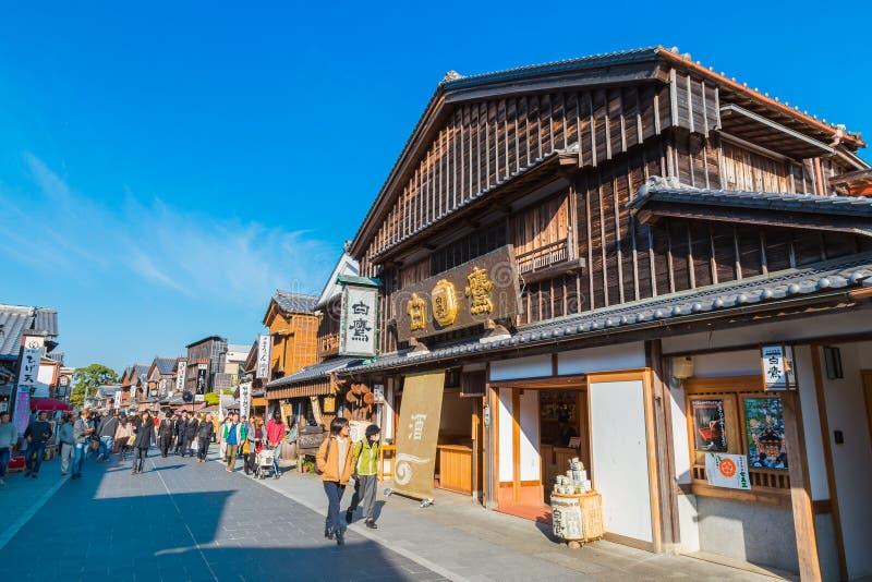 Oharai-machi街在艾斯市,三重县,日本 免版税图库摄影