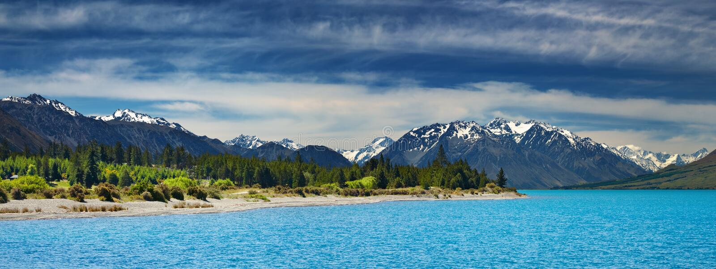 Ohau sjö, Nya Zeeland arkivfoton