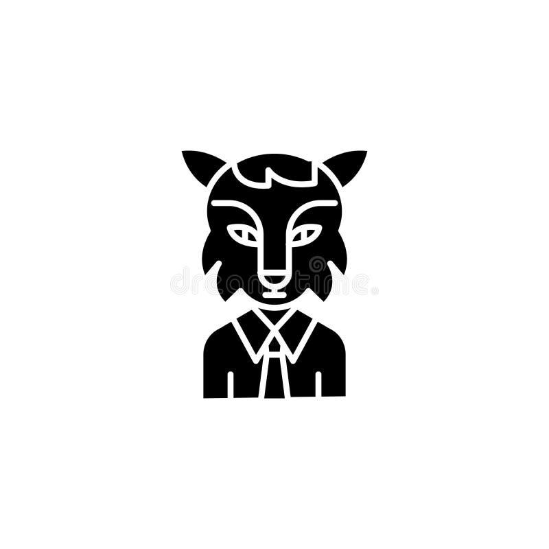 Ohederligt begrepp för arbetarsvartsymbol Ohederligt symbol för arbetarlägenhetvektor, tecken, illustration royaltyfri illustrationer