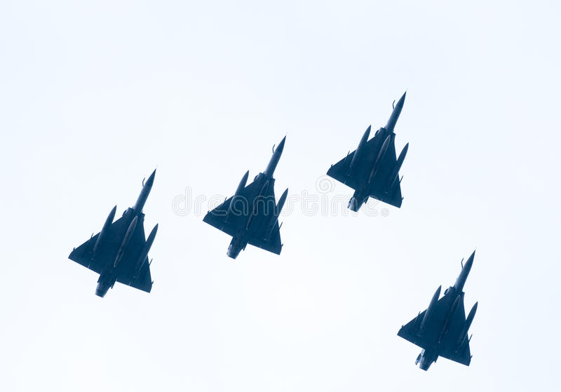 Ohi Day-parade van lucht militaire technologie in Thessaloniki royalty-vrije stock afbeeldingen