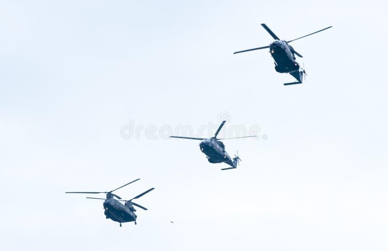 Ohi Day-parade van lucht militaire technologie in Thessaloniki stock fotografie