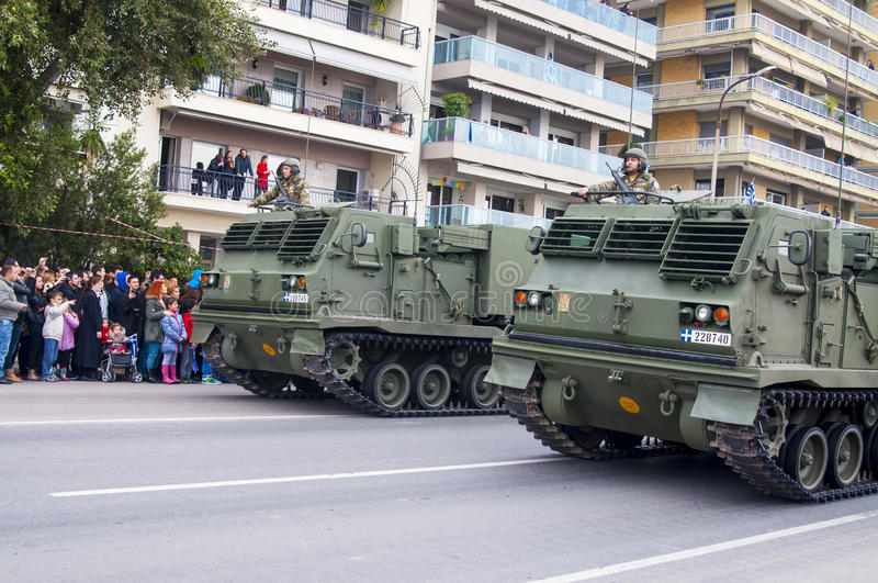 Ohi Day-parade van militaire technologie in Thessaloniki royalty-vrije stock afbeelding