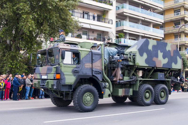 Ohi Day-parade van militaire technologie in Thessaloniki stock afbeeldingen