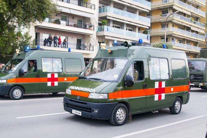 Ohi Day ståtar av militär teknologi i Thessaloniki royaltyfri fotografi