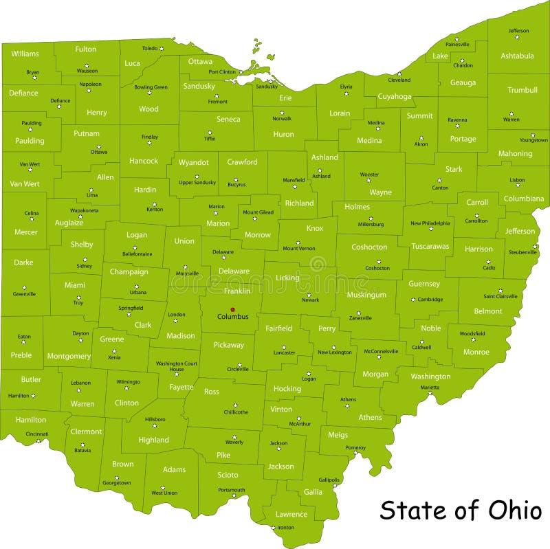 Ohio översikt royaltyfri illustrationer