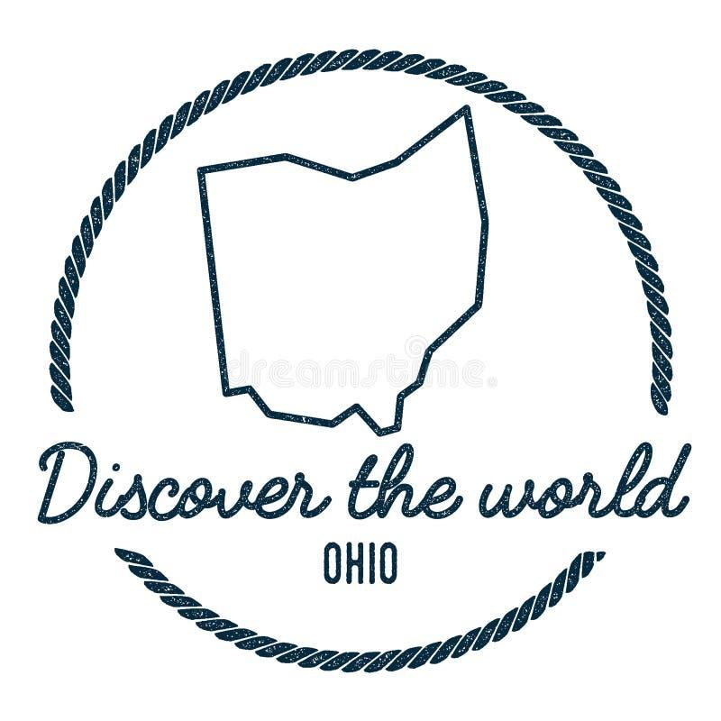Ohio översiktsöversikt Tappning upptäcker världen royaltyfri illustrationer