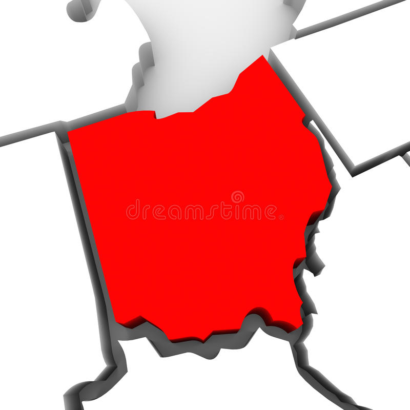 Ohio abstrakta 3D stanu Czerwona mapa Stany Zjednoczone Ameryka ilustracji