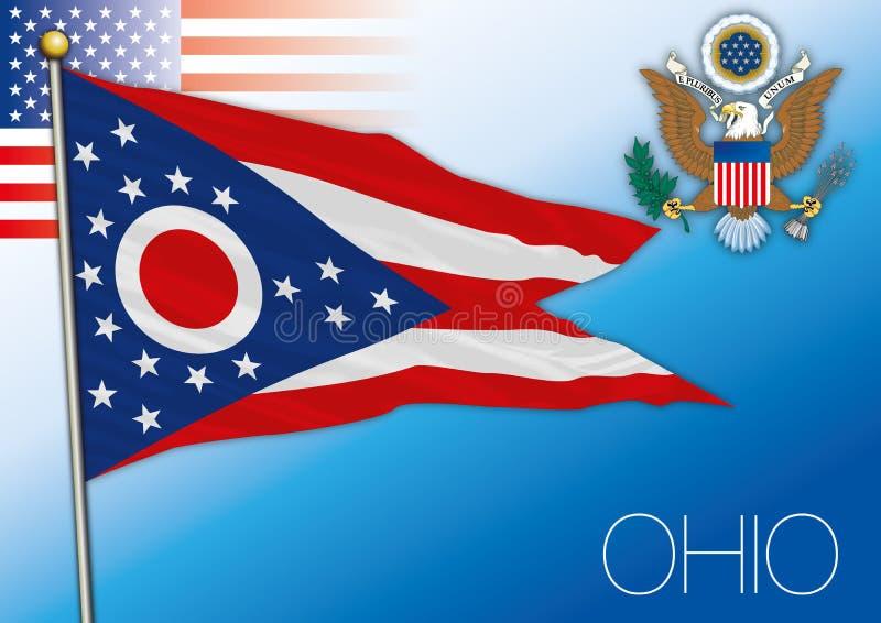 Ohio-Bundeslandflagge, Vereinigte Staaten lizenzfreie abbildung