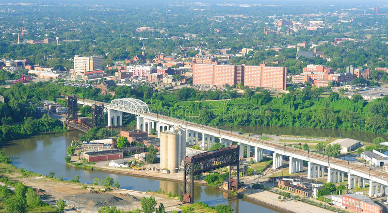 Download Ohio City aerial stock image. Image of businesses, city - 15381847