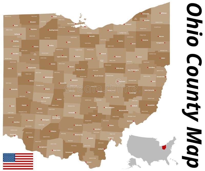 Ohio County översikt royaltyfri illustrationer