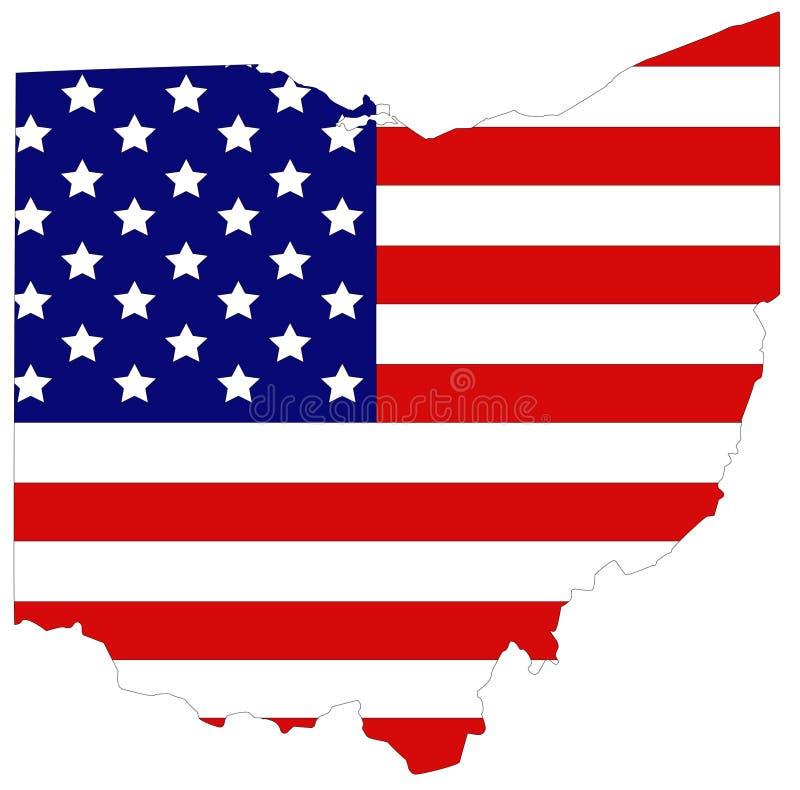Ohio-Karte mit USA-Flagge - Zustand des Mittelwestens in der Great Lakes Region der Vereinigten Staaten stock abbildung